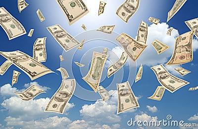 Falling dollars (sunny sky background)