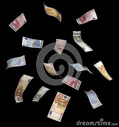 Falling Euro bills