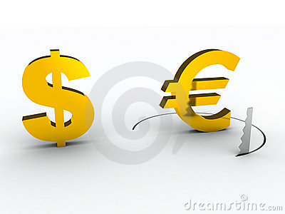 Falling euro financial risk concept