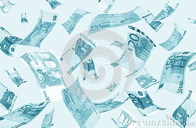Falling euros (blue toned)
