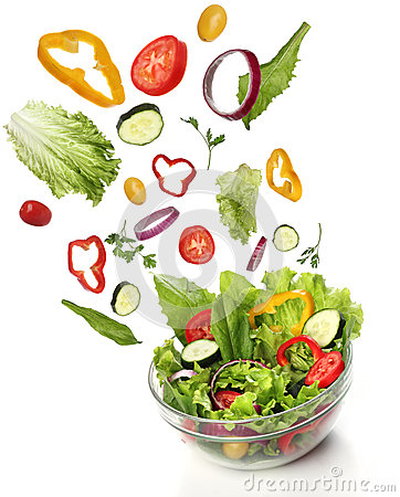 Free Falling Fresh Vegetables. Healthy Salad Royalty Free Stock Photos - 31844968