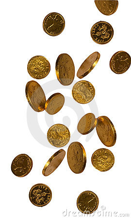Free Falling Gold Chocolate Coins Stock Images - 17073634