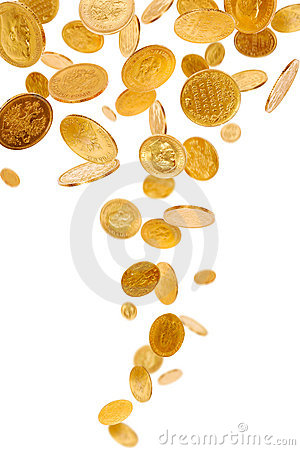 Free Falling Gold Coins Stock Photo - 11354420