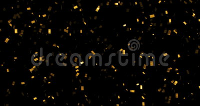 Falling gold glitter foil confetti, animation 3d movement on black background. Holiday and festive fun concept