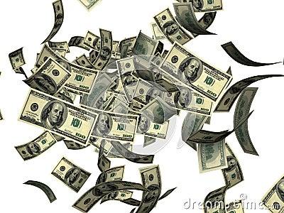 Falling hundred dollar bills