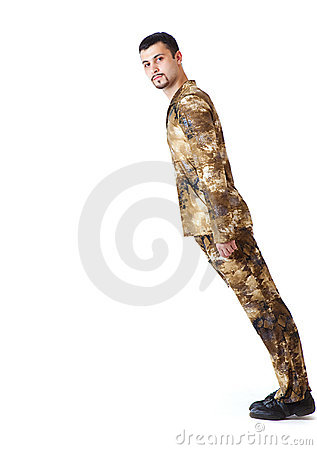 Falling man in military uniform