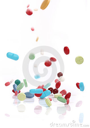 Free Falling Medicine Pills Stock Images - 8437014