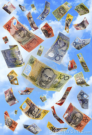 Free Falling Money Australian Dollars Raining Stock Images - 6494944
