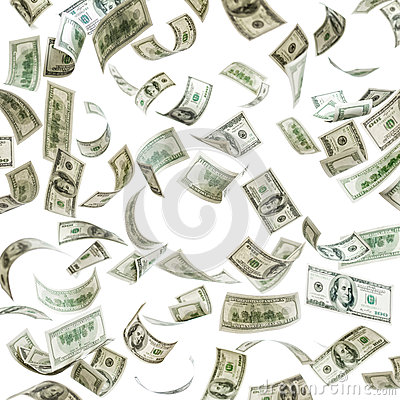 Falling money, hundred dollar banknotes