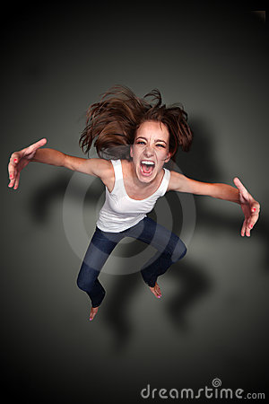 Falling Person Screaming With Arms Outstretched