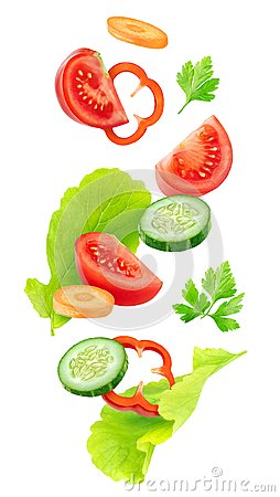 Free Falling Pieces Of Vegetables Royalty Free Stock Photos - 99624098