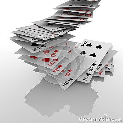 Falling poker cards