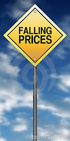 Falling prices road sign