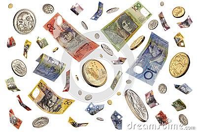 Falling Raining Australian Money
