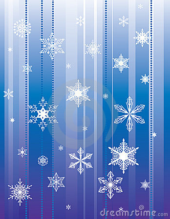 Falling snowflakes on a blue background