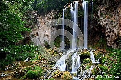 Falling spring waterfalls