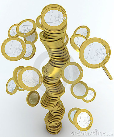 Falling stack of euro coins
