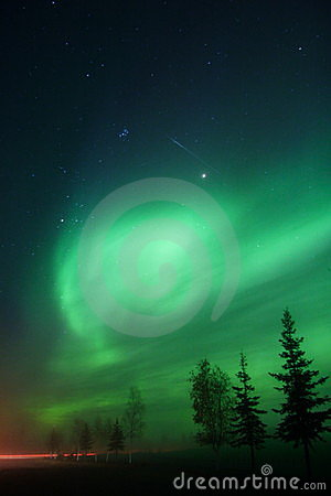 Falling star + Aurora Borealis + Pleyades = luck