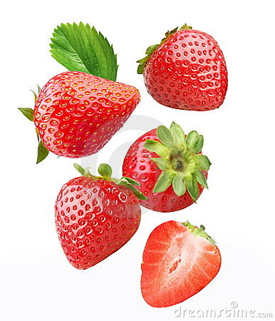Free Falling Strawberries. Royalty Free Stock Photos - 16030668