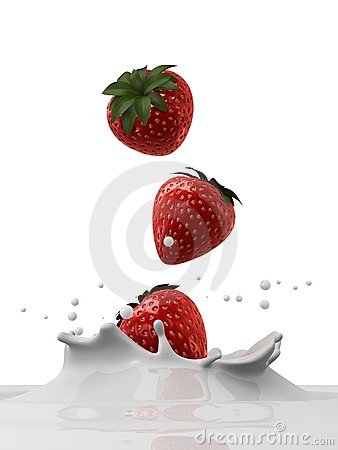 Free Falling Strawberries Stock Images - 4129474