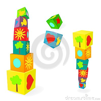 Free Falling Tower Of Colorful Childish Play Cubes Royalty Free Stock Images - 28566369