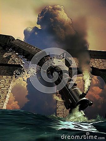 Falling train