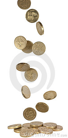 Free Falling UK Coins Royalty Free Stock Images - 17252619