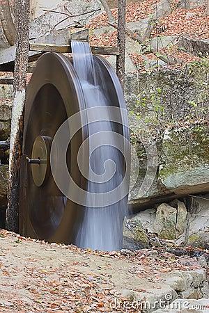 Falling water makes waterwheel spin