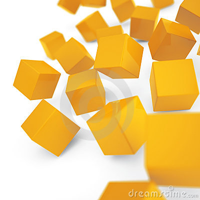 Falling yellow cubes