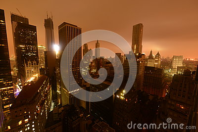 Fallo eléctrico céntrico de Manhattan debido a Sandy Foto editorial