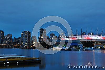False Creek and BC Stadium at night