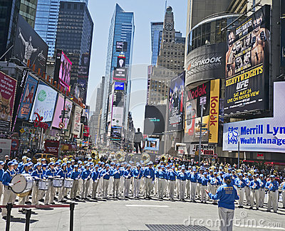 Falun Gong band performs in Times Square Editorial Photo