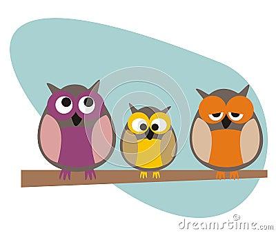 Família engraçada das corujas do vetor que senta-se na filial