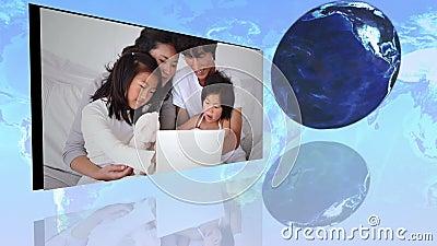 Famílias internacionais que usam o Internet com uma cortesia de imagem da terra da NASA org vídeos de arquivo