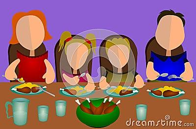 Fotografia stock libera da diritti: famiglia che mangia insieme
