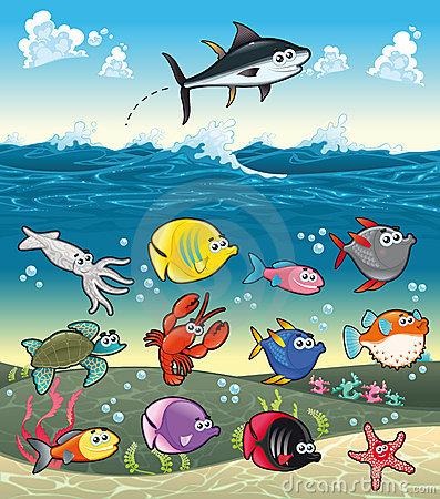 Famiglia dei pesci divertenti sotto il mare.