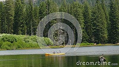 Famiglia in un kajak su un lago vicino alla foresta video d archivio