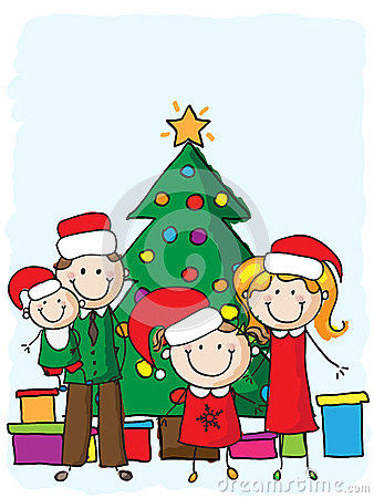 Famiglia vicino all albero di Natale