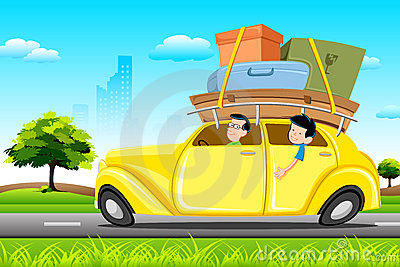 Famil no carro na excursão