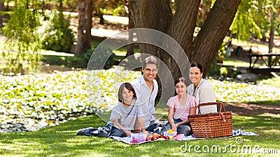 Familia alegre que merienda en el campo en el parque