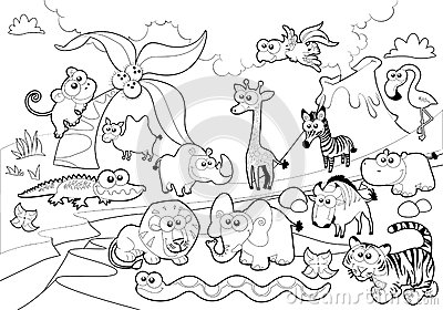Familia animal de la sabana con el fondo en blanco y negro - Familias en blanco y negro ...