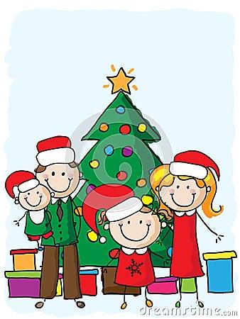 Familia cerca del árbol de navidad