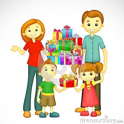 Familia con el regalo de día de fiesta