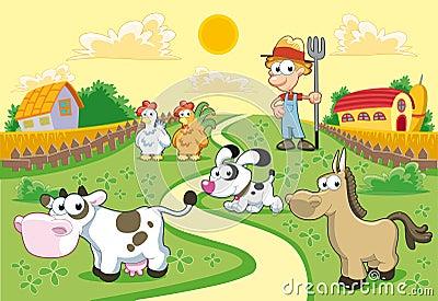 Familia de la granja con el fondo.