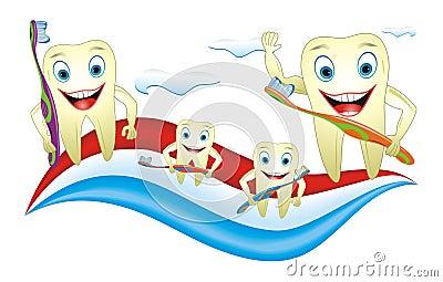 Familia de los dientes con el cepillo de dientes