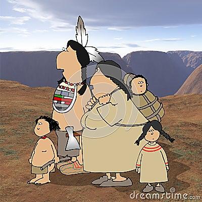 Familia del nativo americano con el fondo del desierto