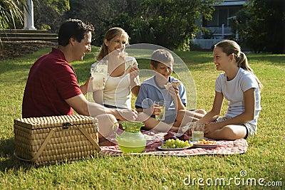Familia que tiene comida campestre en parque.