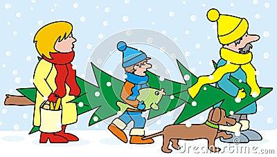 Familia y árbol de navidad
