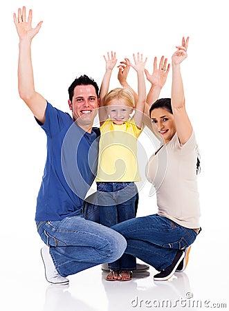 Familie bewaffnet oben