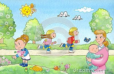 Familie bij het park
